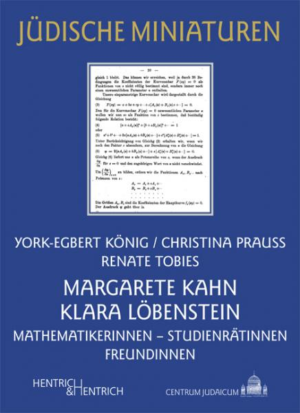 Cover Margarete Kahn und Klara Löbenstein, York-Egbert König, Christina Prauss, Renate Tobies, Jewish culture and contemporary history